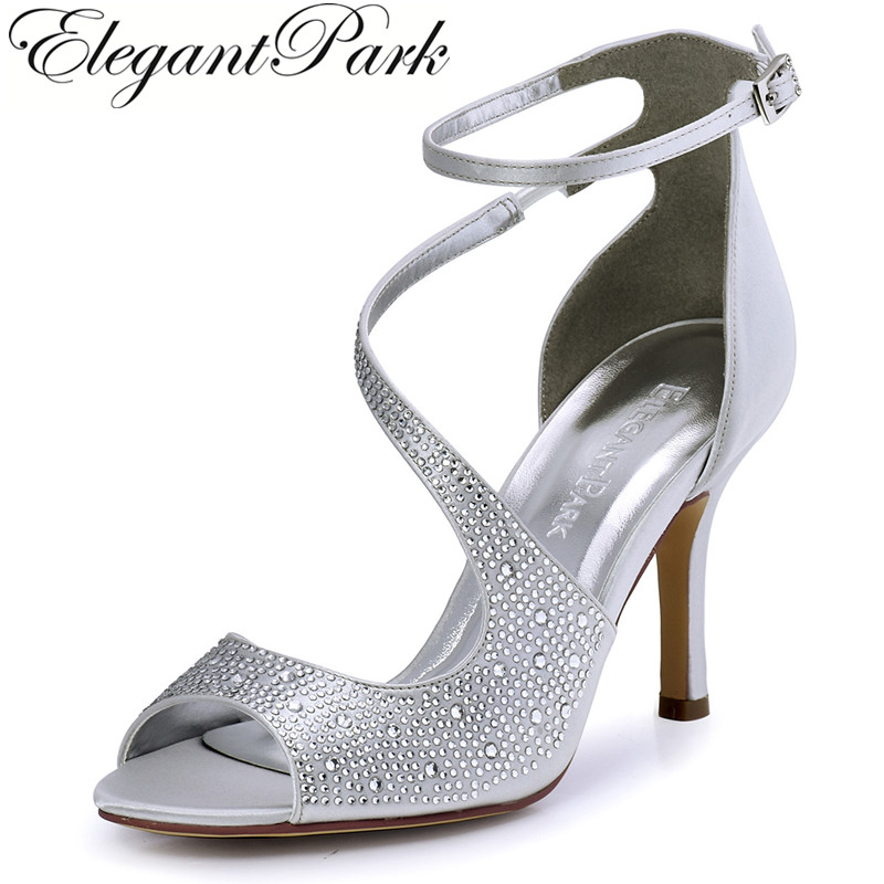 Summer Sandals Woman Sexy Silver Ankle Strap High Heel Bling Rhinestone Satin Bride Bridesmaid Pumps Bridal Wedding Shoes HP1505 phyanic bling glitter high heels 2017 silver wedding shoes woman summer platform women sandals sexy casual pumps phy4901