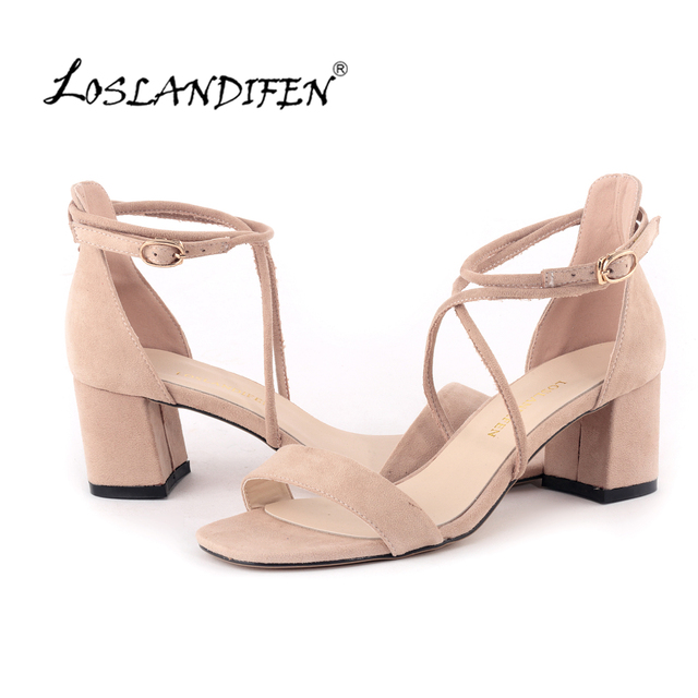 Loslandifen Fashion Women Velvet Sandals Stripe Ankle Buckle Office Pumps Thick High Heel Shoes Sweet Wedding