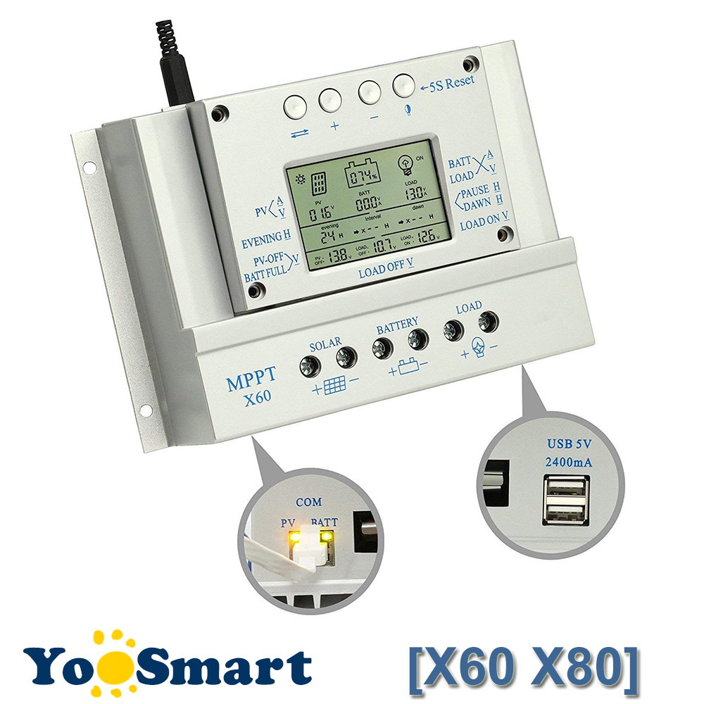 PowMr MPPT 80A 60A Solar Charge Controller 12V 24V 2m Cable LED Charge and Discharge indicator