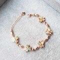Ultra luxo opala natural pulseira 925 sterling silver natural semi-precious stone rose banhado a ouro fino mulheres partido jóias
