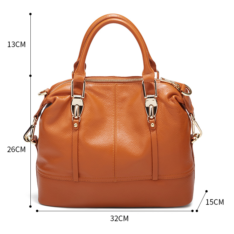 Image 5 - QIWANG Women's Bags Genuine Leather Roomy Bowling Hand bag Full Grain Cowhide Handbags Ladies Fashion Purses for Commuting&Party-in Top-Handle Bags from Luggage & Bags