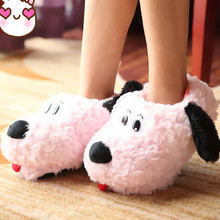 Free Shipping Winter At Home Women Shoes Slippers Lovely Pink Dot Warm Cotton Padded Shoes Antiskid EVA Soft Soles Indoor Shoes