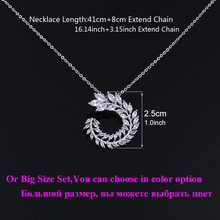 Dos tamaño nuevo diseño de lujo AAA Zircon rama de olivo y sistemas pendientes de la joyería para las mujeres de moda joyería de la boda AS128