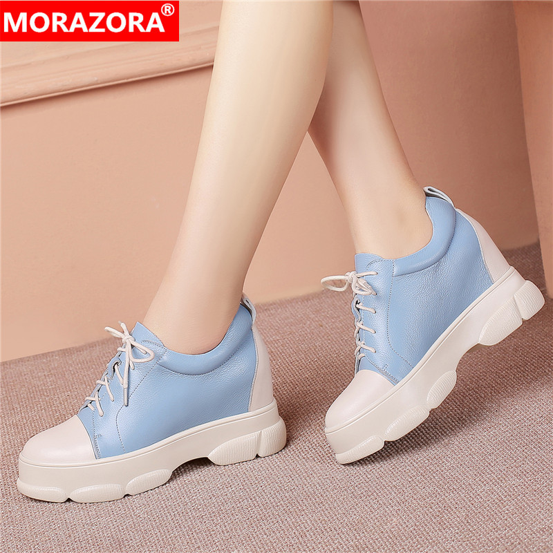 MORAZORA 2019 hot sale women pumps round toe genuine leather shoes lace up comfortable platform shoes