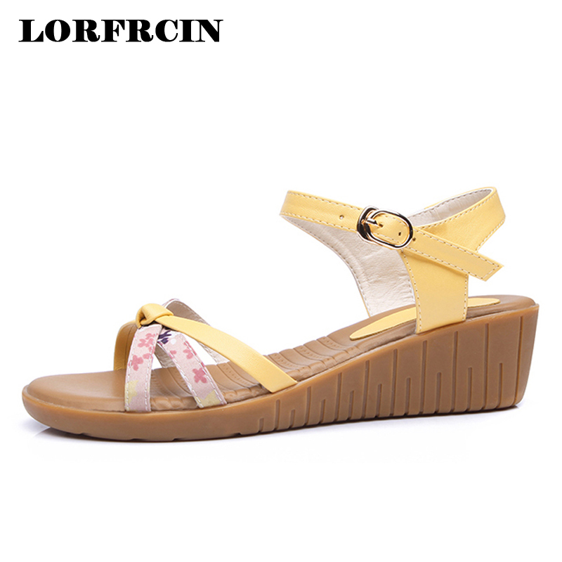 Genuine Leather Sandals Women Bohemia Comfortable Beach Shoes For Woman 4.5cm High Heels Wedges Women's Gladiator Sandals Summer