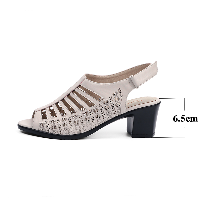 AIMEIGAO Women Gladiator Sandals Buckle Strap Peep Toe Summer Shoes Thick Med Heels Women Sandals Soft Leather Big Size Shoes