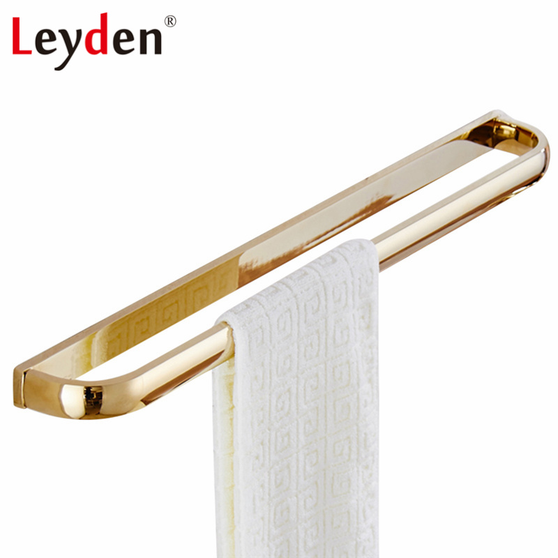 цены на Leyden Solid Brass Single Towel Bar ORB/ Antique Brass/ Gold/ Chrome Wall Mounted Modern Square Towel Rack Bathroom Accessories в интернет-магазинах