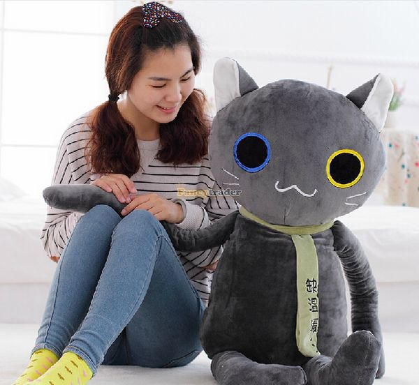 Fancytrader Novelty Toy 47'' / 120cm Lovely Soft Stuffed Giant Plush Cat Toy, 2 Colors Available, Free Shipping FT50428 fancytrader new style 47 120cm lovely giant stuffed plush funny teddy bear toy 4 colors available free shipping ft50855