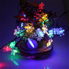 2M 20LED Snow Flower RGB Led String Light Battery Power Fairy Lights For Christmas Holiday Room Wedding Outdoor Decoration Lamp
