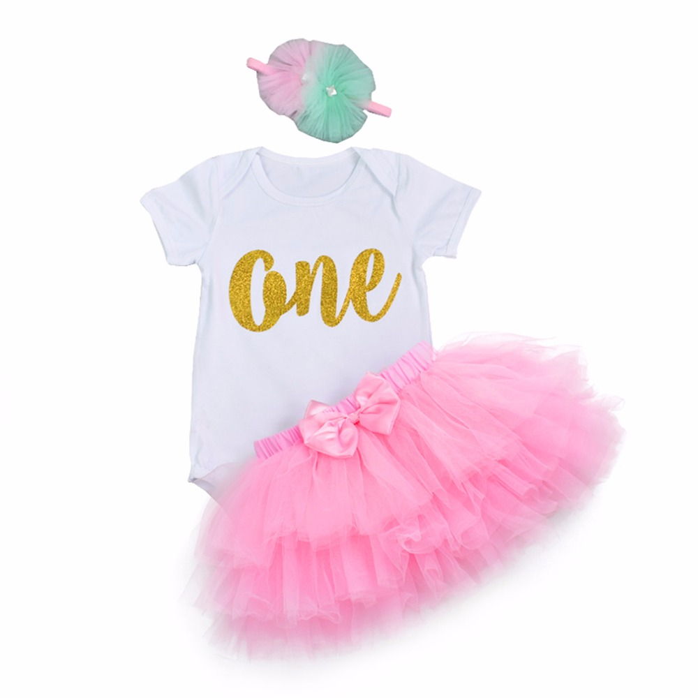 Baby Girl Clothing sets tutu Romper Dress 1st Birthday Outfit  Romper+ Bow Tulle Tutu Skirt +Flower Headband 3pcs Bodysuits new baby girl clothing sets infant easter romper tutu dress 2pcs set black girls rompers first birthday costumes festival sets