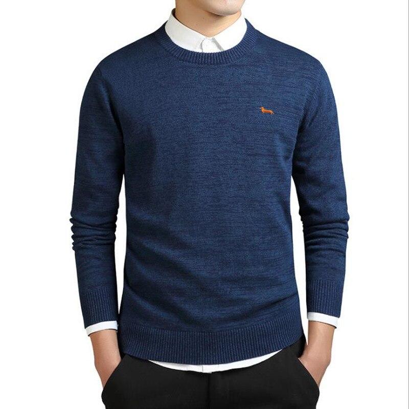 2017 Фирменная Новинка весенние туфли Повседневная вязаный свитер мужские harmont 100% хлопок Одноцветный пуловер мужчин Blaine О-образным вырезом Slim Fit свитера