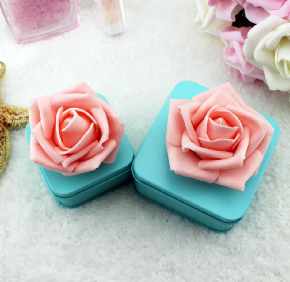10pcs Sky Blue PE Rose Flower Candy Chocolate Spte Box For Wedding Party Birthday Baby Shower Favors Gifts