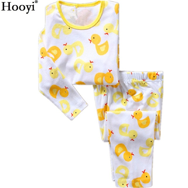 ce76fe37f602 Hooyi Duck Boys Pajamas Suits 100% Cotton Children Sleepwear Boy T ...