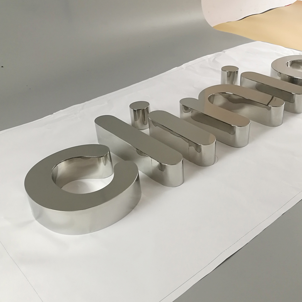 3D Polished Stainless Steel Letters Rose Gold Metal Sign Custom 3d Signs