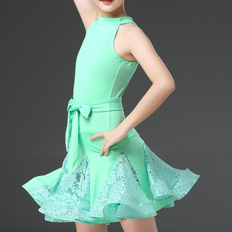 lace ballroom latin practice wear modern dance dress girl competition for children kid skirt salsa tango samba dancewear cha cha
