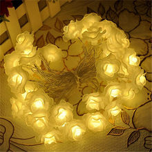 Fashion Holiday Lighting 50 LED Novelty Rose Flower Fairy Battery String Lights Wedding Garden Party Valentine's Day Decoration(China)