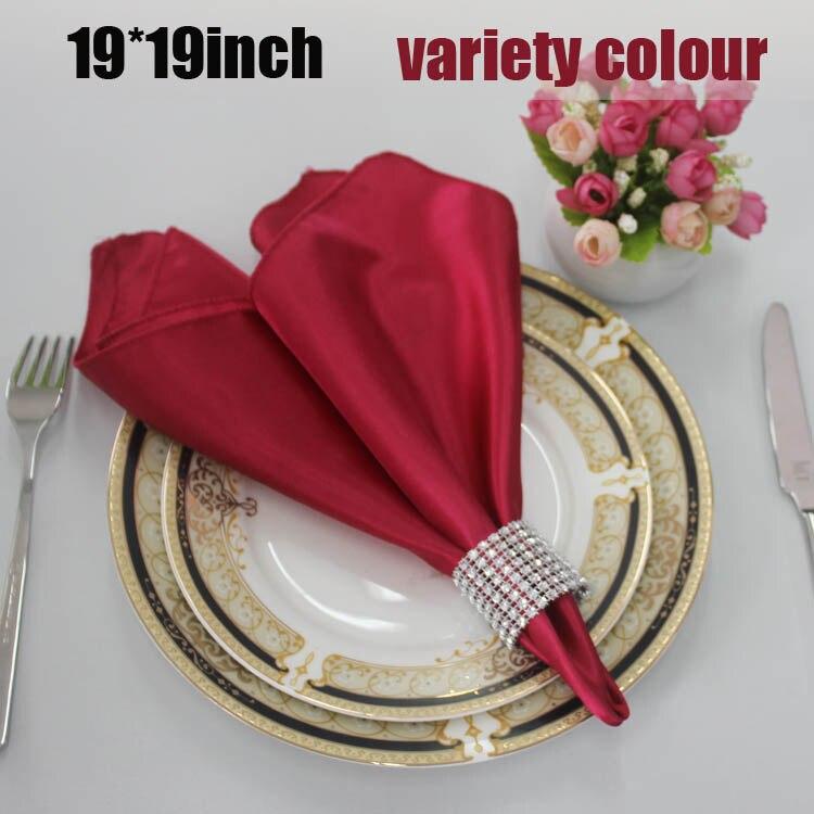 Dearest 200pcs 48cm Square Satin Napkins Handkerchief for Wedding Party Hotel Restaurant Table Decors