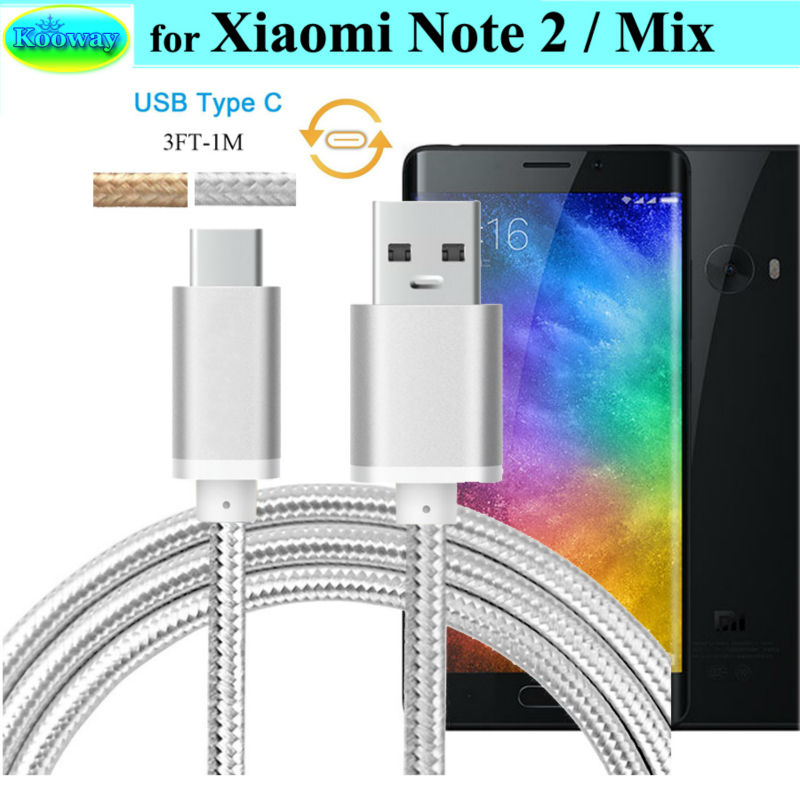 Black // 3ft New Xiaomi Mi Mix USB Type C Data and Transfer Cable.