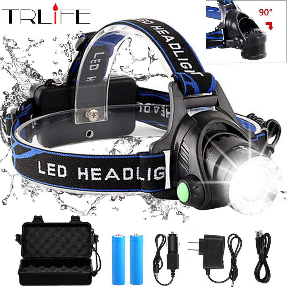 Headlamps 10000lum Led Headlamp V6 L2 T6 Zoomable Headlight Head Torch Flashlight Head lamp by 18650