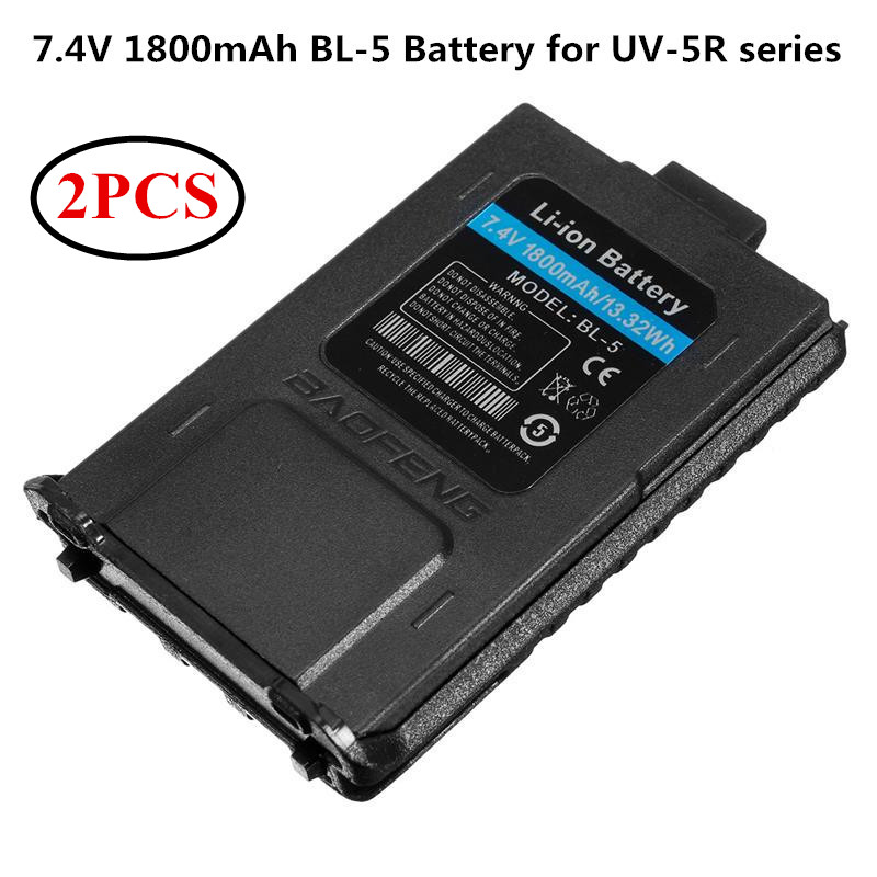 2PCS Baofeng Battery BL 5 Li ion Battery 7 4V 1800mah Walkie Talkie Two Way Radio