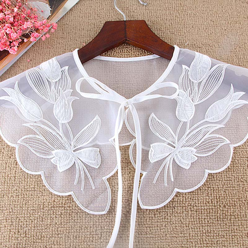 New Women Detachable Chiffon Collar Hollow Dot Embroidery Fake Collar Daffodil Round Flower Tip Petal Edge Section Fake Tie