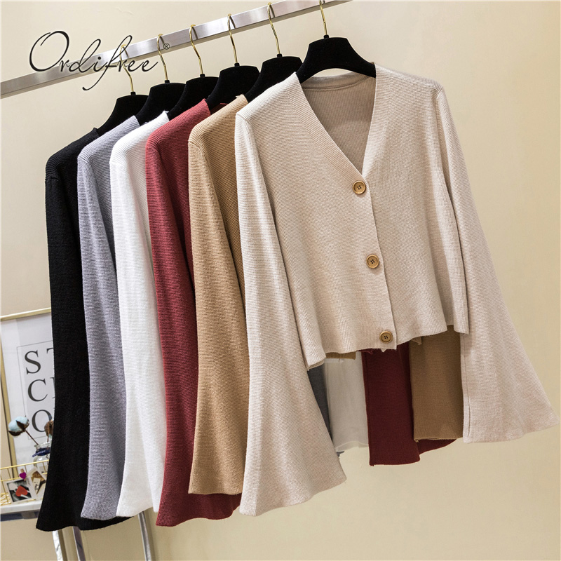 28567b60c98a8b Ordifree 2018 Autumn Women Knitted Sweater Long Sleeve Solid Casual  Knitwear Jumper Short Knitting Sweater Cardigan