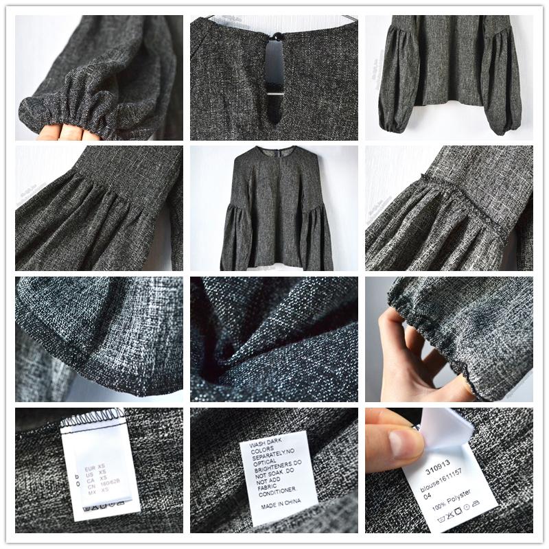 HTB1aS4RQXXXXXX0apXXq6xXFXXXm - Women Shirt Ladies Grey Lantern Long Sleeve Blouse