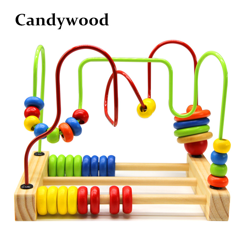 Candywood 2017 New Baby Colorful Around Beads Funny Maze Beads Toys Educational Toy for Children Montessori baby toys baby kids colorful wooden beads labyrinth maze game children toy wooden toy mini around beads wire maze educational game wj 094