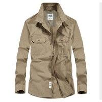 Plus size Brand Clothing Men Shirts Cotton Long Sleeve Camiseta Masculina Denim Shirt Men Army Military Casual