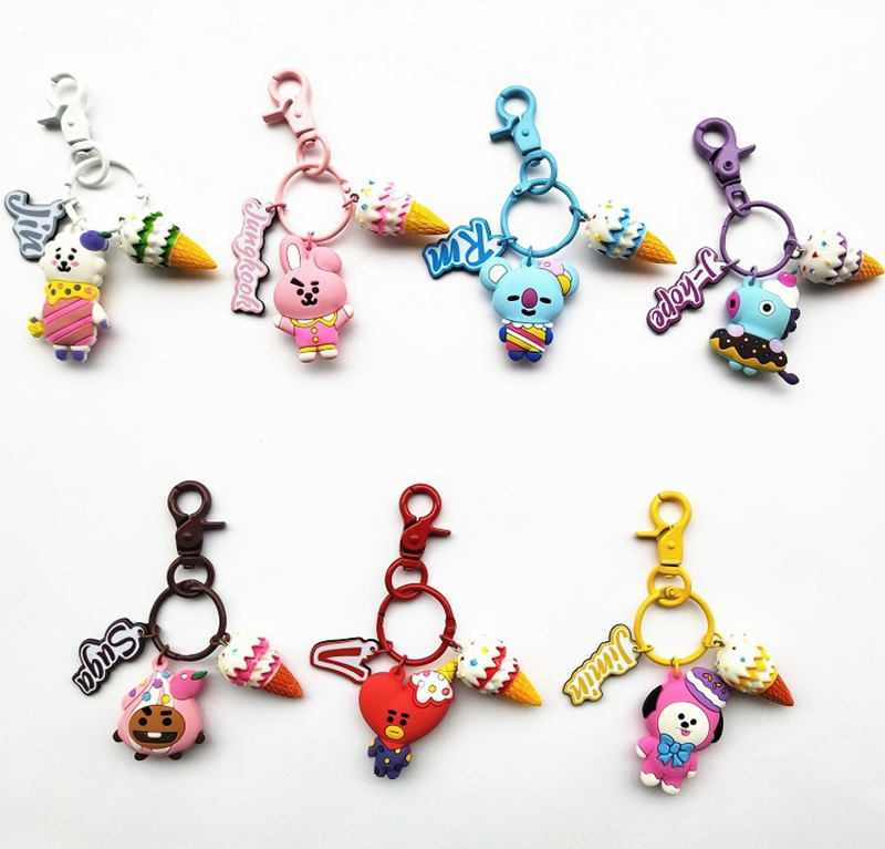 KPOP BTS Keychain Bangtan Boys Cute Cartoon Silicone Doll Pendant Keyring 1pc Key Chains