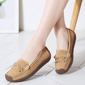 Image 3 - Women Suede Leather Loafers Women\x27s Slip\x2don Shoes High Quality Comfortable Shoes Woman Flats Sneakers Woman Schoenen Vrouw