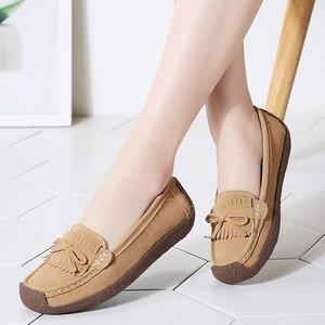 Image 3 - 여성 스웨이드 가죽로 퍼스 여성 \ x27s 슬립 \ x2don 신발 고품질 편안한 신발 여성 플랫 스니커즈 여성 schoenen vrouw