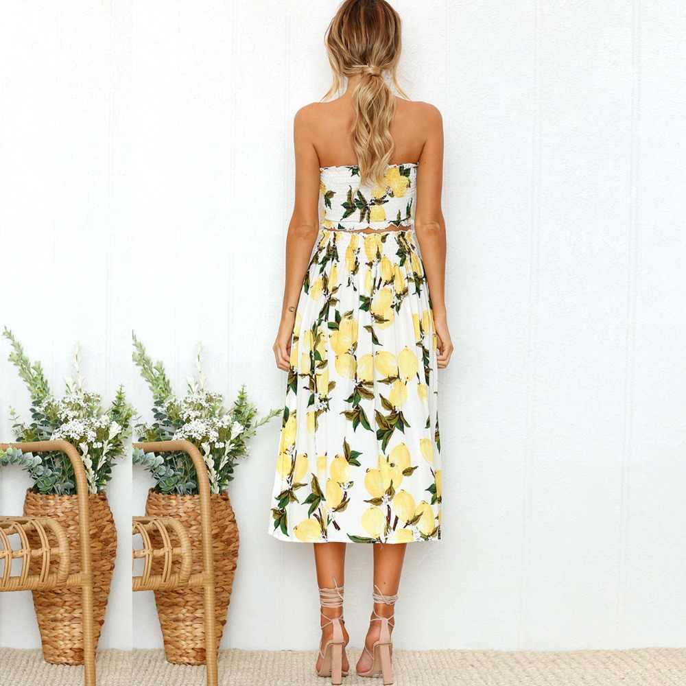 Комплект из 2 предметов, летнее платье, женское сексуальное платье без бретелек, бохо, Подсолнечник лимон, принт, вечерние платья, женская мода 2019, миди, пляжные платья