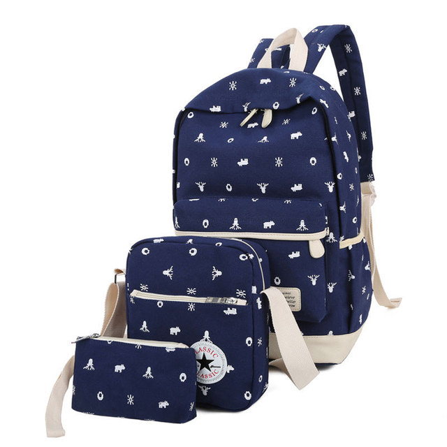 3 Pcs Sets 2018 Female Backpacks+Crossbody Bag+Purses Canvas Printing School  Bags For Teenage Girls Women Backpack Mochila APB19 40c7f13a73475