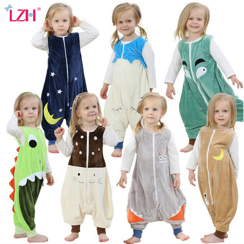 LZH 2017 Autumn Flannel Sleeping Bag Kids Jumpsuit Prevent Kick Quilt Animals Blanket Sleepers Children Kigurumi Footed Pajamas