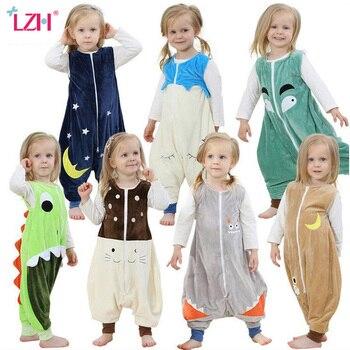 LZH 2017 Outono Saco de Dormir de Flanela Crianças Macacão Prevenir Pontapé Colcha Cobertor Travessas Crianças Kigurumi Animais Pijamas Footed