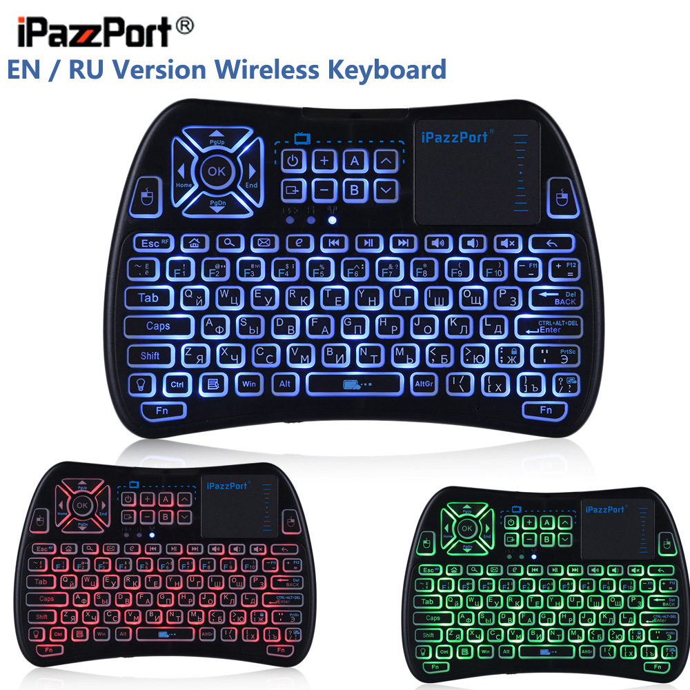 Latest IPazzPort KP-810-61 Mini Wireless Keyboard RF 2.4G WiFi With 3 Color Backlight Touch Pad Remote Control For TV Box RU/EN ...
