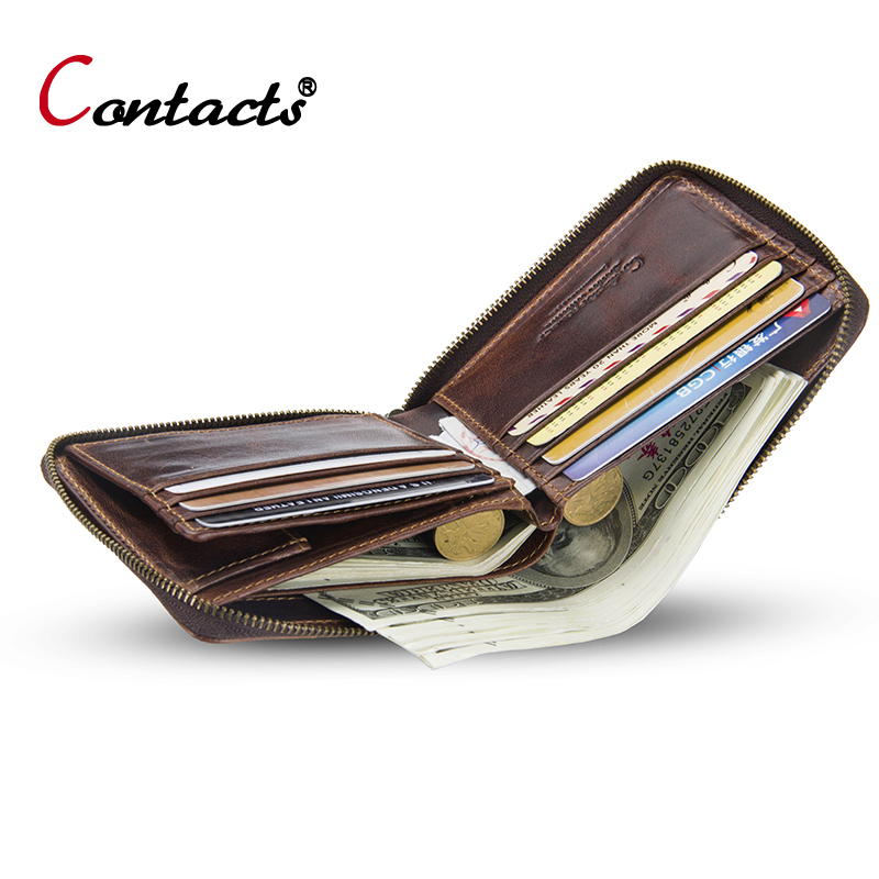 CONTACT'S Men's Wallet Genuine Leather Coins Purse Men Small Wallet Male Business Card Holder Men's Clutch Bag Male Short Wallet thinkthendo new male genuine cow leather wallet card package retro woven passport business cards holder