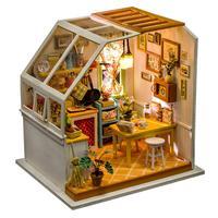 DIY Small Doll House Gourmet Kitchen Educational Assembled Model Lifelike Handmade Miniature Dollhouses Kit Toys for Children