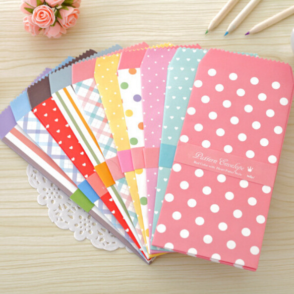 4 bags/lot (20 pieces) Cute Cartoon Kawaii Paper Colorful Envelope for Gift Baby Korean Stationery Wholesale Free shipping 711 wallet