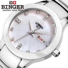 Switzerland Binger ceramic Women's watches fashion quartz wristwatches rhinestone Lovers clock 100M Water Resistance B-8007