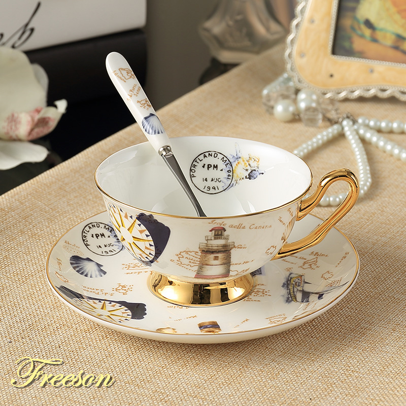 Europe Logbook Bone China Tea Cup Saucer Spoon Set 200ml Advanced Porcelain Cafe Cup Cafe კერამიკული დღის მეორე ნახევარი