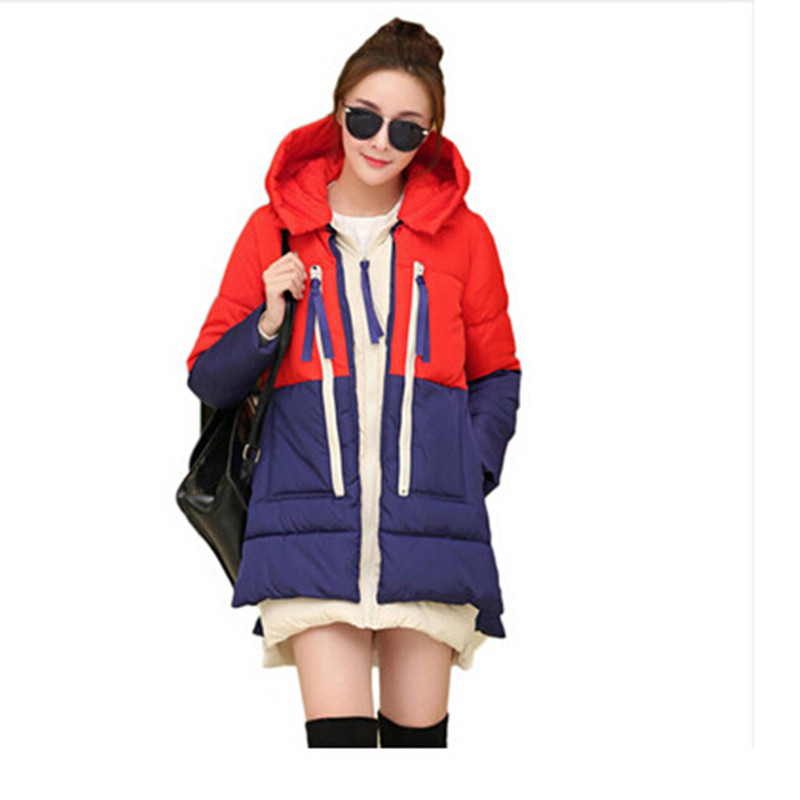 New 2016 Winter Women Wadded Jacket Splice Female Outerwear Plus Size 3XL Thickening Casual Down Cotton