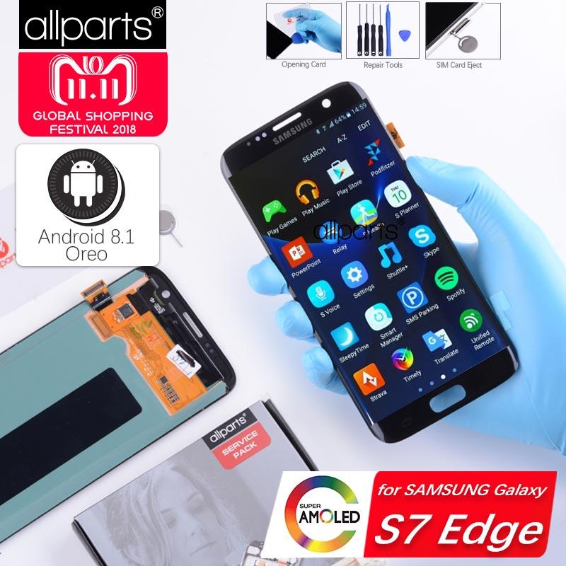 5,5'' NUEVO Original pantalla para SAMSUNG Galaxy S7 Edge LCD Tactil Completa Display táctil Écran para SASMSUNG S7 Edge G935F pantalla LCD con marco Digitalizador reemplazo Negro Dorado