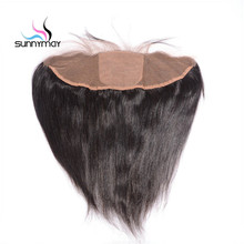 Sunnymay Straight Brazilian Virgin Hair Silk Base Frontal Natural Color Swiss Lace Hidden Knots 13×4 Closure Free Shipping