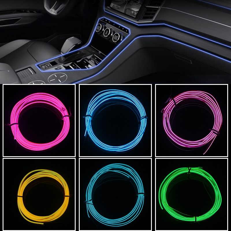 Car interior Lighting Decorative Lamp 1M 2M 3M 5M LED Strip Garland EL Wire Rope Tube Line flexible Neon Light With 12V image