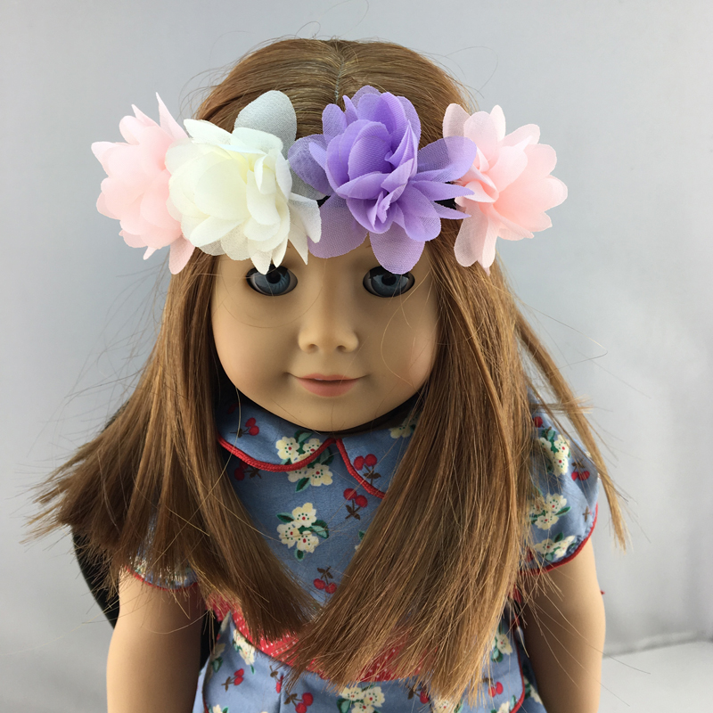 18 Inch Girl Doll Accessories 3Pcs Colorfull Flower Hair -5026