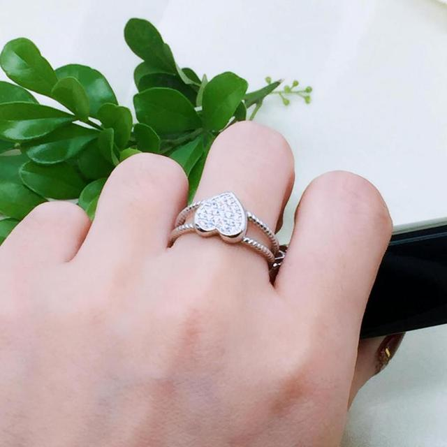 925 Sterling Silver Love Heart White Gold Color 5
