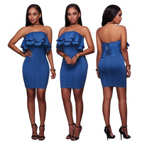 New celeb slim bodycon bandage dress ruffles hot summer sexy dress night out party mini dress 3005