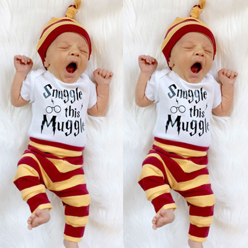 Snuggle this Muggle Baby Boys Girls Romper Pants Hat 3Pcs Outfit Set Clothes вибромассажер мини snuggle bug фиолетовый